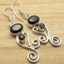 Vintage Fashion Online ! BLACK ONYX Earrings ! Sterling Silver Plated Jewelry
