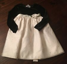 Toddler Girls Youngland Christmas Holiday Black Velvet Sequin Ivory Dress 4T