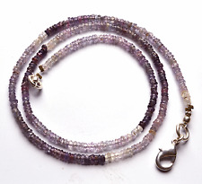 """33.00CT 16""""SUPER  NATURAL PURPLE SAPPHIRE FACETED ROUNDEL BEADS NECKLACE 2 MM"""