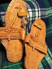 Buffalo Sandals Light Brown Leather Handmade Hippy Retro Toe Ring Style Sz 7