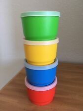 Vintage Set of 4 Tupperware Snack Cups Blue Red Yellow Green G Size Stackable