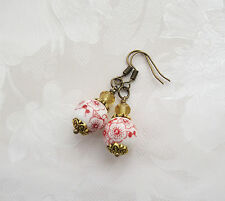 Porcelain Bead Fashion Earrings - White/Red/Gold/Hook/Round/Floral/12mm/Topaz