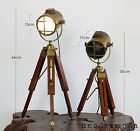2x Brass Tripod Nautical Spot Light Table Lamps Bedside Rustic Hand Made Classic