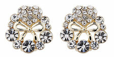 CLIP ON EARRINGS gold earring with a bow & clear crystals - Ella