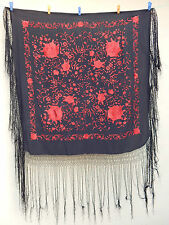 ANTIQUE BEAUTIFUL CHINESE HAND EMBROIDERED SILK PIANO SHAWL PS72