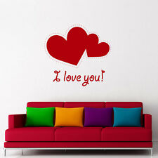 Quote I Love You Wall Sticker Valentines Day Design Hearts Decal Vinyl Home AR48