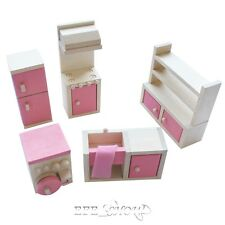 Lot 5 Set Wooden Doll House Kitchen Room Miniature Furniture Kids Child Play Toy