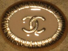 CHANEL  CC LOGO FRONT AUTH GOLD DARK BEIGE ENAMEL BUTTON TAG 16 x 12 MM emblum