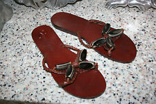 COLE HAAN RESORT ALL LEATHER SANDALS BRAIDED WITH BEADS SIZE 8 M