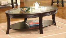 19.25''H CLASSIC DESIGN ROUND COFFEE TABLE WITH GLASS TABLE TOP-ESPRESSO -ASDI