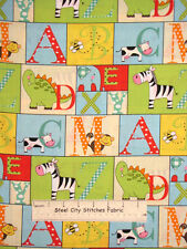 Baby Fabric -  A To Zoo Nursery Animal Alphabet Yellow Babies Room - YARD
