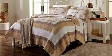 Cannon Kyran Cotton Quilt Bedspread Full/Queen Jacobean Floral Print Gold/Brown