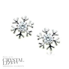 SNOWFLAKE Swarovski Elements Crystal 18-KRGP White Gold Plated Stud Earrings