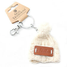 Aran Traditions Womans Ladies Men Winter Knitted Style Cream Beanie Hat Keyring