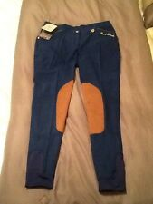 Women's HKM Lauria Garelli Knee Patch Breeches - Blue - Size US30
