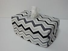 Black & Silver Chevron Tissue Box Cover With Circle Opening - Lovely Gift Idea