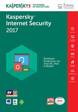 Kaspersky Internet Security 2017, 5pc/1 anno, antivirus, la vendita, nessun CD, MULTIDEVICE