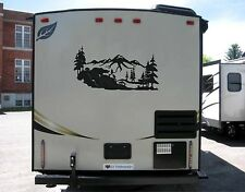 Mountain Scene with fishing bear Decal for rv travel trailer camper LOOK