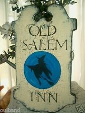 Primitive Halloween Sign OLD SALEM INN Witch Moon Tavern Style Sign Crackle