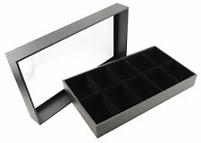 High Quality Leatherette Display Case Clear Acrylic Lid 10 Velvet Compartments