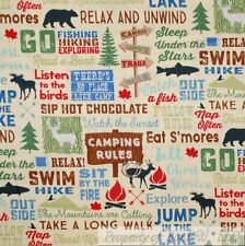 BonEful Fabric FQ Cotton Quilt Cream Camp Hike Hunt Fish Lake Log Cabin USA Word