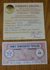LIRE 50 FRONTE DEMOCRATICO POPOLARE SOTTOSCRIVETE MOLTO RARA certificata FDS