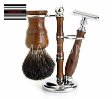 Wooden Safety Razor Badger Shaving Brush Style 3 Piece Set Rosewood
