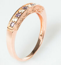 18ct Rose Gold Sterling Silver Half Eternity Ring Purple Amethyst CZ Size P