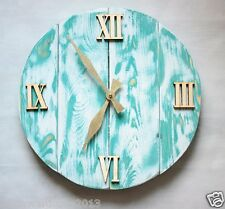 Pallet Wood Wall Clock ''Aquamarine'' Art Industrial Vintage Rustic Shabby Chic