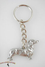 Dachshund Dog Fine Pewter Silver Keychain Key Chain Ring