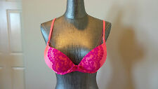 VICTORIA'S SECRET Hot Pink/Purple Lace MIRACULOUS PLUNGE Push-Up Bra, Sz 34A