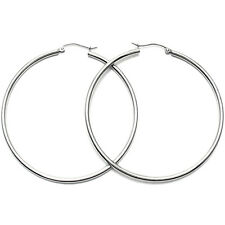 "10K White Gold Plain Hoop Earrings 2x50mm 2"" Diameter"