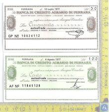 Lotto di 2 MiniAssegni - Banca di Credito Agrario di Ferrara - 2 MiniCheck lot
