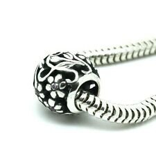 FLOWERS Sphere w. CZ - Openwork- Solid 925 sterling silver European charm bead