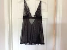 Victoria's Secret nightie, black lace and mesh, size M, unhooks in the back