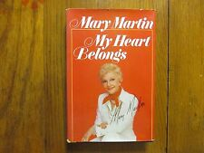 MARY  MARTIN (Died-1990)Signed 3 x 5 Card w/Book (MY HEART BELONGS-1976 1st Edit