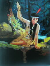 Indian Maiden With spear Moon Light by ADELAIDE HIEBEL vintage art
