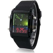 Fashion Men's  LED Dual Display GMT Alarm Luminous Waterproof Wrist Watch Black
