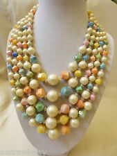 "VTG Hong-Kong signed  5 strands white pearl faux color beads neckalce 16""L"