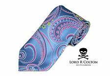 Lord R Colton Masterworks Tie Ice Blue & Pink Supremacy Silk Necktie - $195 New