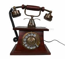 Wooden Home Telephone Brass Retro Rotary Dial Industrial Vintage Office Phone