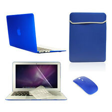 "5 in 1 Rubberized ROYAL BLUE Case for Macbook Air 11""+ Key Cover+LCD +Bag +Mouse"