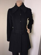 Alice + Olivia Coat Belted Snap-Front Black Size Small S Angora Wool Blend SOFT