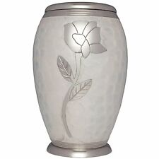White, Silver Flower - Brass Funeral Cremation Urn,  Adult, 200 cubic inches