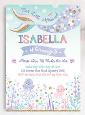 mermaid invitation personalised invite 1st first birthday party