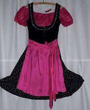 Bartholomäus Dirndl schwarz-pink Gr 34 mit Glitzersteinen + Bluse + Schürze