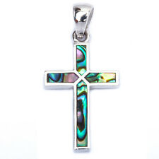 Abalone Shell Cross .925 Sterling Silver Pendant 1.25' long