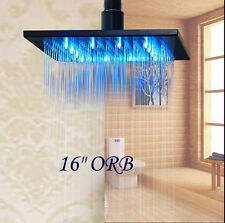 """LED 16"""" Oil Rubbed Bronze Square Rain Shower Head Wall Ceiling Mounted Sprayer"""
