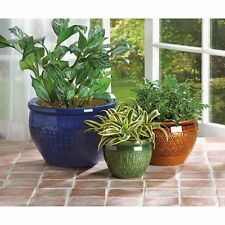 SET OF 3 JEWEL~TONE FLOWER PLANT POT YARD GARDEN DECOR-38899