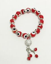 NEW SILVER RED+WHITE EVIL EYE,STRETCH,PAVE CRYSTAL BALL,BEAD+CHARM BRACELET
